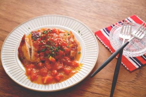 0912のフレッシュトマトソースのチキンソテー